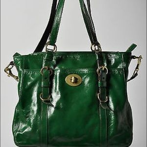 Coach Green Patent Leather Tote